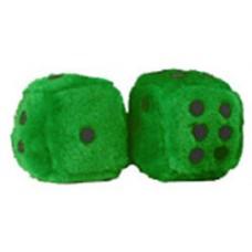 Dark Green Fuzzy Dice with Black Dots