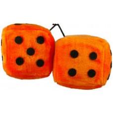 Orange fuzzy dice with black dots