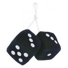 Black Fuzzy Dice with White Dots