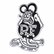 """12"""" Rat Fink Black and White Iron on Embroidered Patch"""