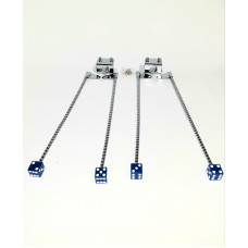 Chrome Curb Feelers with Blue Dice Ends