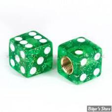 Glitter Dice Valve Caps - Green