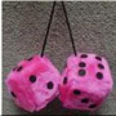 Hot Pink/Black Fuzzy Dice