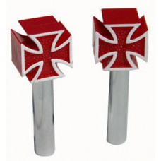 Iron Cross Door Pulls red