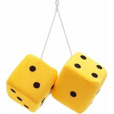 Yellow Fuzzy Dice with Black Dots